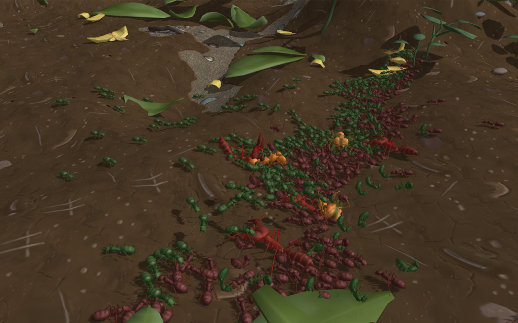 Two colonies clash in the jungle.