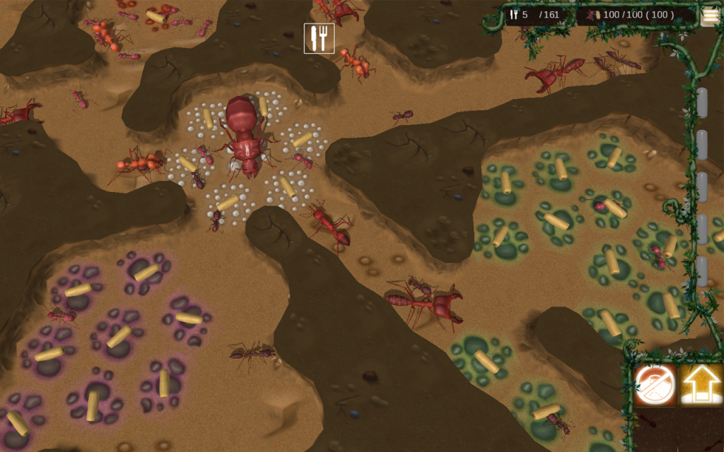 Underground colony showing the user interface.